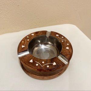 Vintage wood heart ashtray